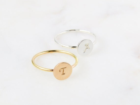 Coin Ring | Initial Ring | Personalized Ring | Gold Ring | Silver Ring | Dainty Ring | Stacking Ring | Best Friend Gift | Bridesmaid Gift