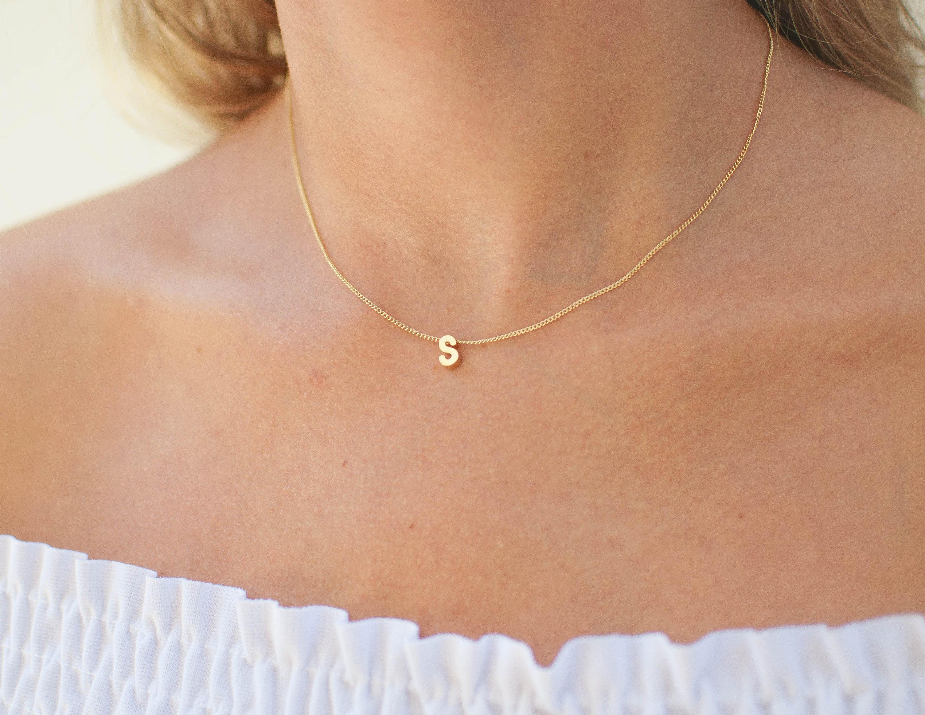 7d1f4636b7f1 Gold Initial Necklace Minimal Initial Necklace Tiny