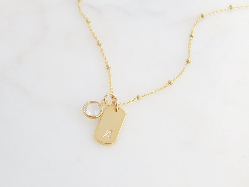 14k Gold Emerald May Birthstone Cursive Letter M Dog-tag Necklace