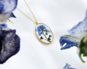 Pressed Flower Forget-Me-Not Necklace   Dried Flower Jewelry Gift for Plant Lady    Real Flower Necklace Gift for Mom