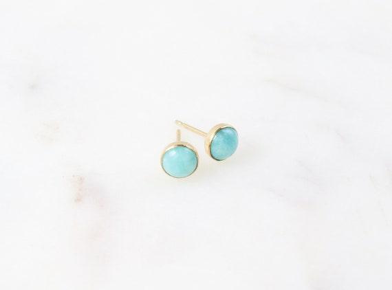 Amazonite Earrings | Amazonite | Gemstone Earrings | Blue Stud Earrings | Gold Earrings | Silver Earrings | Birthday Gift | Gift for Her