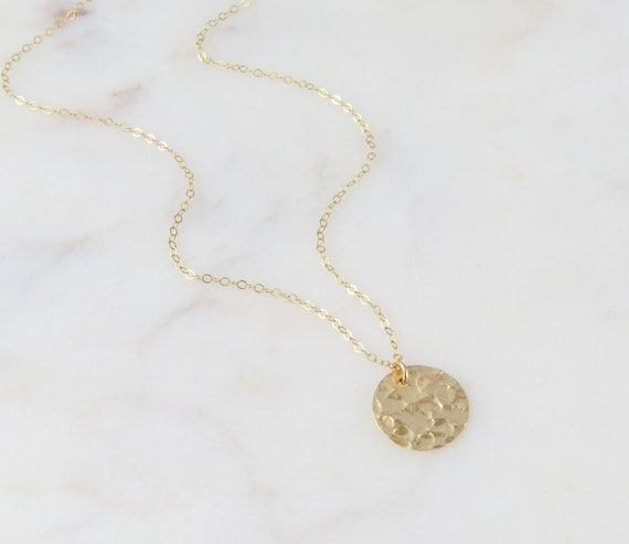 Gold Coin Necklace | Coin Necklace | Circle Necklace | Minimalist Necklace | Dainty Necklace | Gift For Her | Gold Disc Necklace | 0318N14