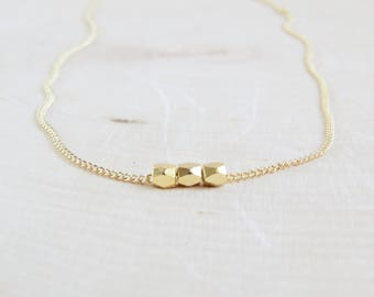 Tiny Gold Bead Necklace | Simple Gold Bead Necklace | Dainty Gold Bead Necklace | Minimalist Gold Bead Necklace