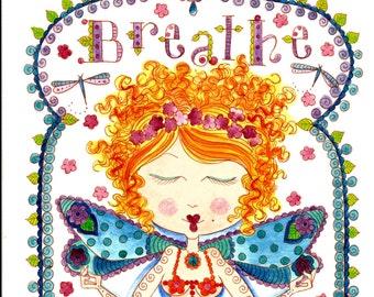 Instant Download Breathe Fairy Art Print Digi Yoga Zen