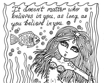 Instant download Mermaid Inspirational quote Fantasy Art Coloring book Color page