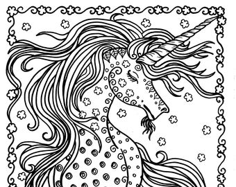 Unicorn Instant Download Fantasy Coloring Pages Adult Coloring Books Art