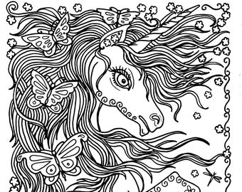 Unicorn and Butterflies Instant Download Fantasy Coloring pages Adult Coloring Books