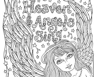 Warrior Angel Coloring Page Adult Christian Color Etsy