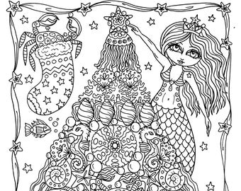 Mermaid Tree Christmas Coloring Page Instant Downloads Coloring page adult