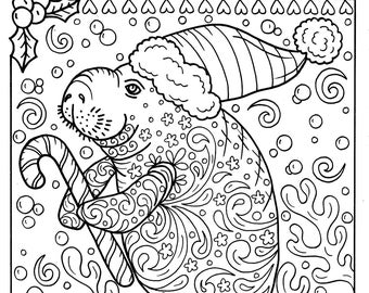 Manatee Christmas Coloring page Instant Download Adult Coloring pages Sea Life