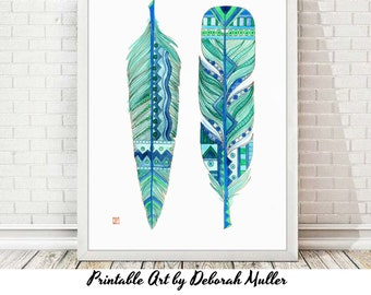 Instant Download Art, Blue Feathers Native Style, south west art, digital art, home decor, native american, feather art, printable wall art