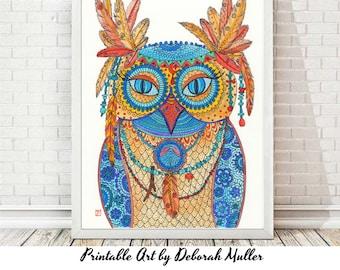 Instant Download Art, Owl Shaman, owl art, feather art, southwest art, native american art, digi art, feathers, digital wall art