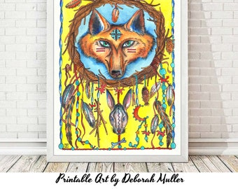 Fox Dreamcatcher art print. Digital.  Simply print, and frame. Bright and beautiful colors from an original watercolor painting.