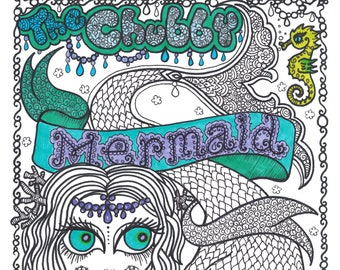 Instant Download Chubby Memaid coloring book, adult coloring, digital coloring, digi stamp, color pages, digital coloring pages