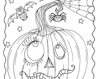 Instant Download Chubby Flying Witch Halloween Coloring Page Etsy