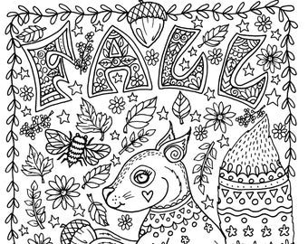 FALL Coloring Page Instant Download Squirrel With Acorns Leaves Adult Pages Digital Digi Books