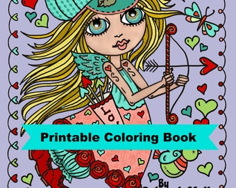 Digital Download Book 30 pages Printable Little Sweetherarts Coloring pages, valentine, hearts, valentines,