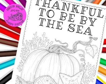 By the sea, at the beach Fall coloring pages. 2 pages of beachy, fall pumpkin coloring fun!
