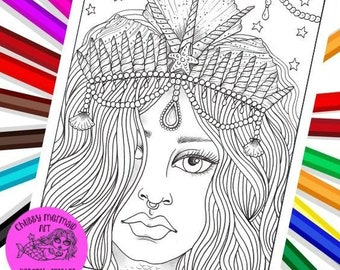 Mermaid Girl with Crown, digital coloring,adult coloring, coloring pages, fantasy colouring, fantasy art, colouring
