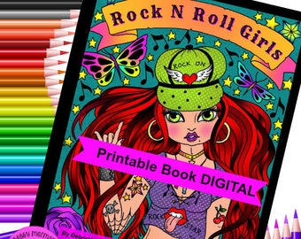 Rock N Roll Girls Digital Coloring Book. Over 40 pages of coloring fun. Rock through the years!