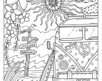 Beach coloring page | Etsy