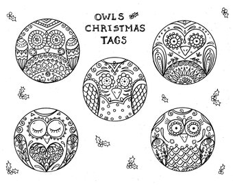 owl christmas tags to color digital instant download fun owl gift tags to color for the holidays