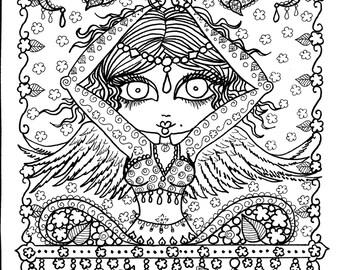 Instant Download Enlighten Yoga Art To Color Digi Stamp Adult Coloring Pages