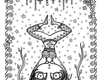 BALANCE Yoga Girl Coloring Page Adult From My Style Book Color Zen Meditate Fun Digi Stamp