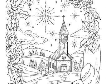 christmas coloring page instant download adult coloring christian