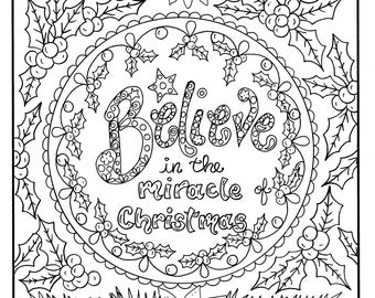 christmas coloring page believe in the miracle adult christian scriptures