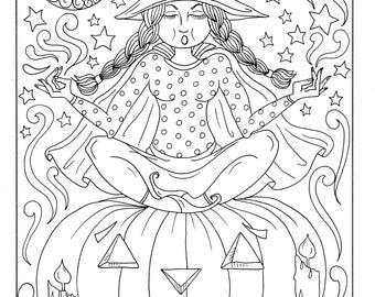 Zen Witch Instant Download Coloring Page Halloween Fun Evil Scarry Cat Moon Fall Digital