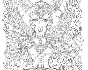Warrior Angel Instant Download Coloring Pages Digi Stamp Color Book Adult Christian Sunday School Easter Church Booke