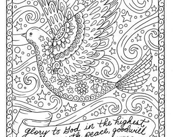 Christmas Coloring Page Dove Christian Scripture Adult Digi Stamp Book