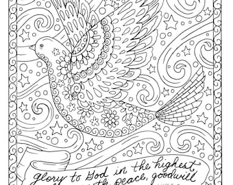 christmas coloring page dove christian scripture adult digi stamp coloring book