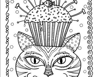 Instant Download Cat And Cupcake Art Coloring Page Cute Fun Funky To Color Digii Stamp Animal