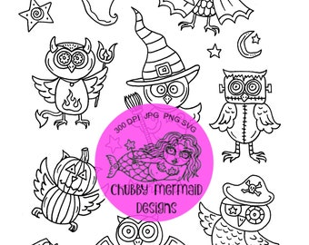 Halloween Owl Clip Art Graphics Digital Files Svg Png Cutting Babies