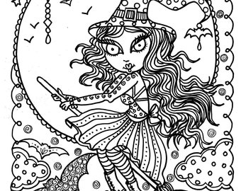 Cute Witch Halloween Coloring Page Fun Instant Download Immediately Color Away Fall Digi Stamp Cat Moon