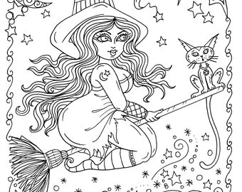 Instant Download Chubby Flying Witch Halloween Coloring Page Adult Color Spooky Cute Digital Digi Stamp Fall Cat