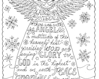 christmas angel christian coloring page adult coloring books pages scriptures