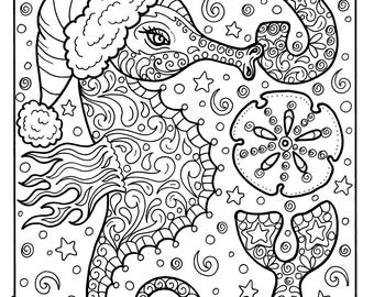 sea horse christmas coloring page adult holidays beach decor sea