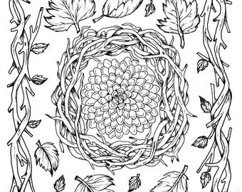 Fall Leaves And Flower Digital Coloring Page Thanksgiving Adult Fun Digi Book