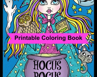 Hocus Pocus Witches Printable Coloring Pages For Adults Halloween Fun Witch Whimsical Book