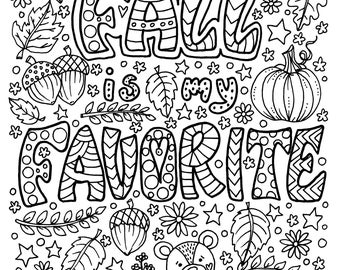 Fall Is My Favorite Coloring Page Fun Digital Thanksgiving