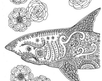 Instant Download Coloring Page Shark Adult You Be The Artist Digitaldigibeachseacolor Pages
