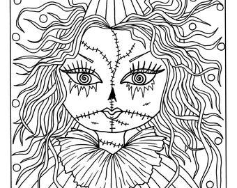 Digital Coloring Book Misfits Creepy Cute Girls Adult Etsy