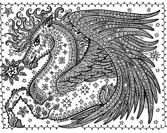 Instant Telecharger Pegasus Coloriage Page Vous Etre Les Pages De Artist Digitaldigi Stamp Adult