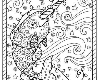 Narwhal Coloring Etsy