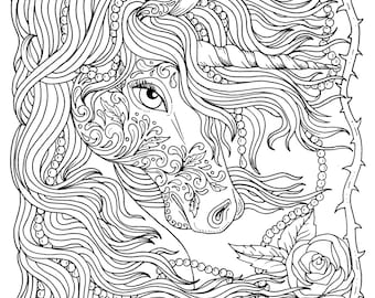 Unicorn Instant Download Fantasy Coloring Pages Adult Coloring Etsy