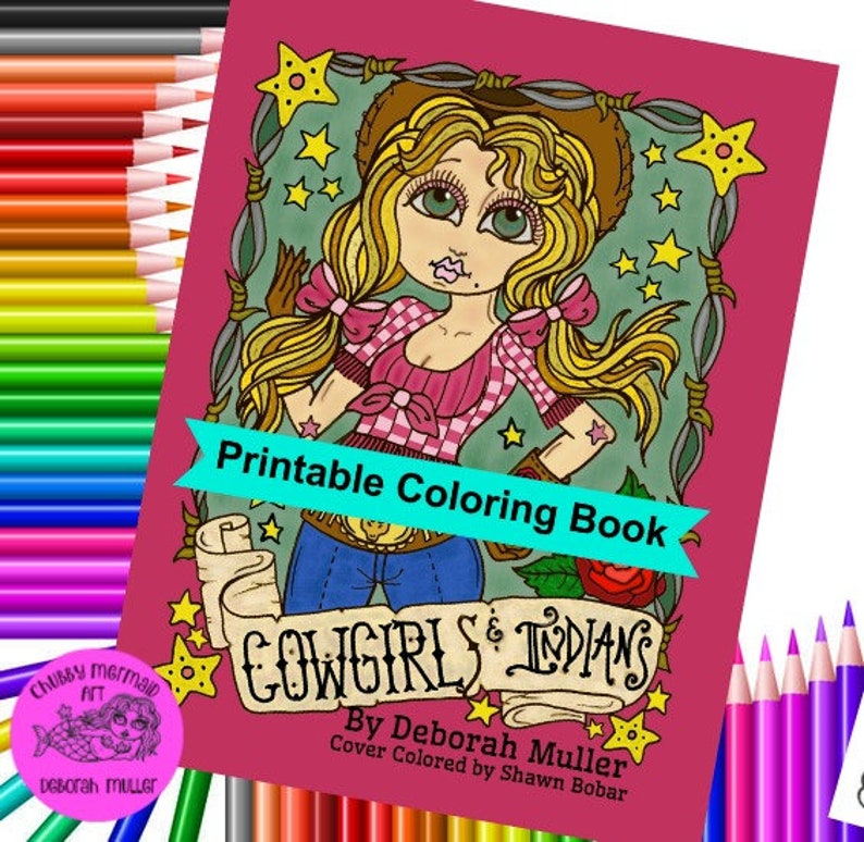 Digital Coloring Book  Downloadable Cowgirls and Indians image 0