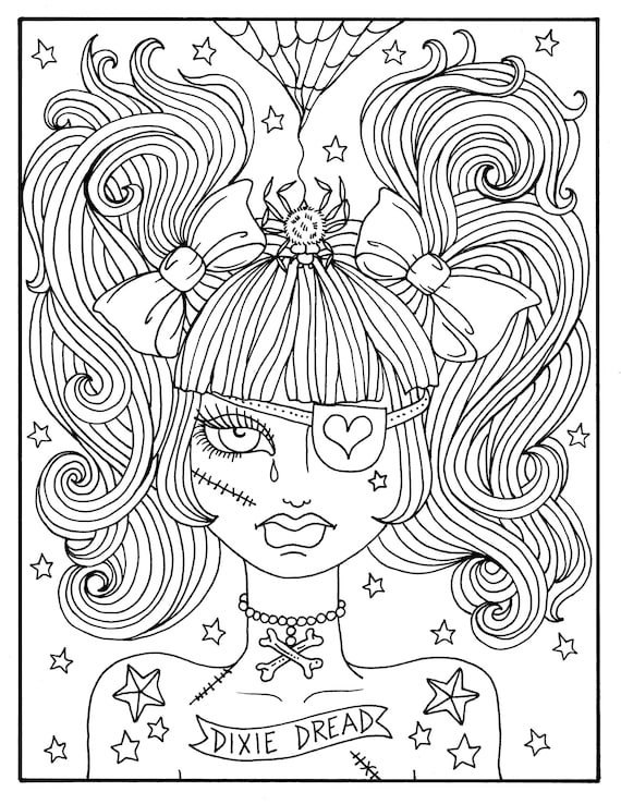 Cute coloring book pages ~ Misfit Girls 5 pages Halloween Misfits Creepy Cute Coloring